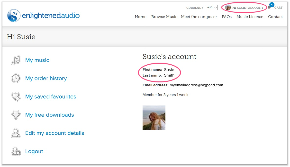 Example User Account Page